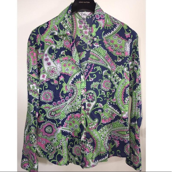 77b8908710635 Lilly Pulitzer Tops - Lilly Pulitzer Vintage Paisley Button Blouse